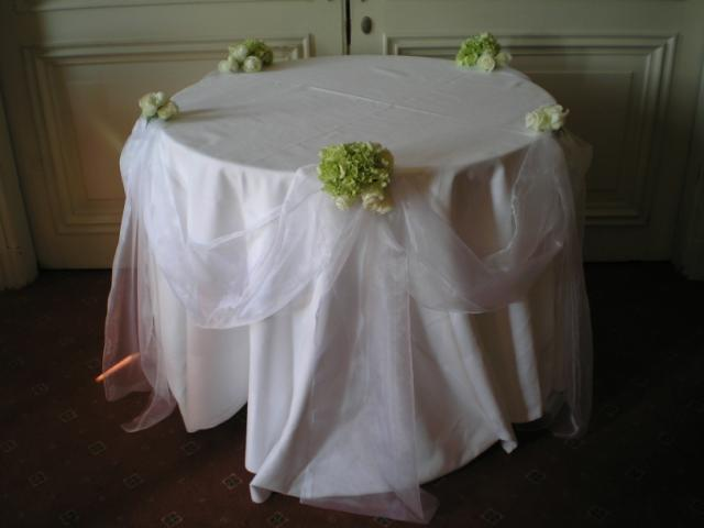 Brompton Floral Designs Wedding Flowers Central London UK NW4 A decorated cake table with white organza, white Akito Roses and Hydrangeas.