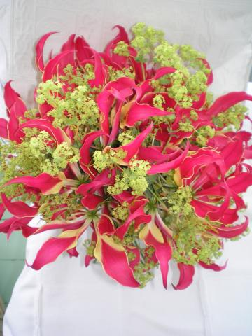 Brompton Floral Designs Wedding Flowers Central London UK NW4 Gloriosa Lilies and Alchemilla Mollis