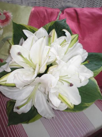 Brompton Floral Designs Wedding Flowers Central London UK NW4 White Oriental Lilies and Hosta Leaves.