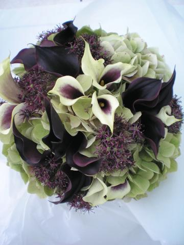 Brompton Floral Designs Wedding Flowers Central London UK NW4 Cream and Purple Calla Lilies, Green Hydrangea and Purple Alliums.